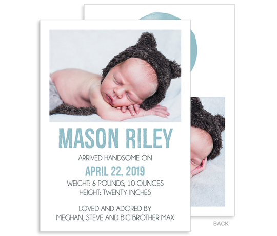 Oh Boy Photo Birth Announcements
