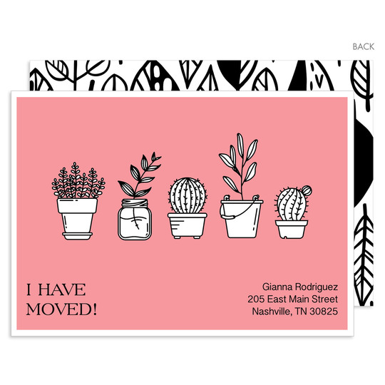 Pink Potted Plants Moving Announcements