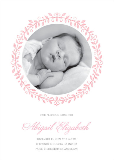 Pink Painted Precious Baby Girl Photo Announcements