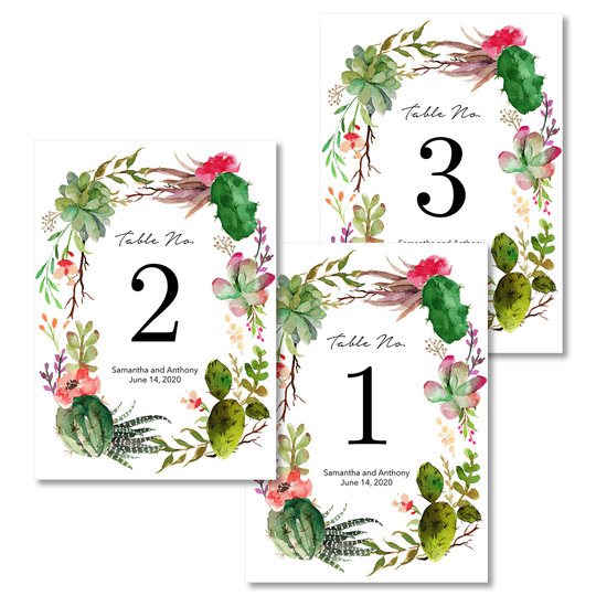 Desert Blooms Table Number Cards