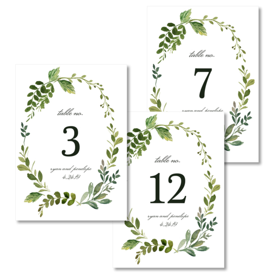Wreath of Vines Table Number Cards