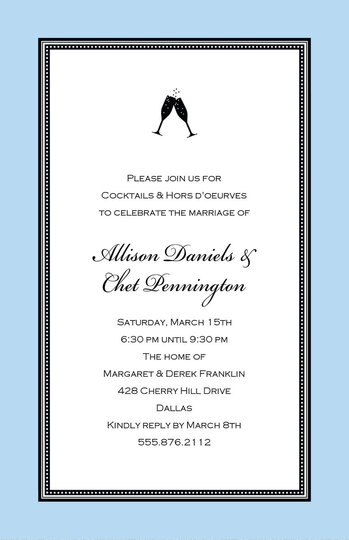 Etched Blue Border Invitations