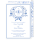 Blue Floral Monogram Wedding Announcements Image 1 of 2