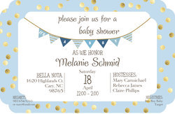 Blue with Gold Dots Baby Shower Invitations