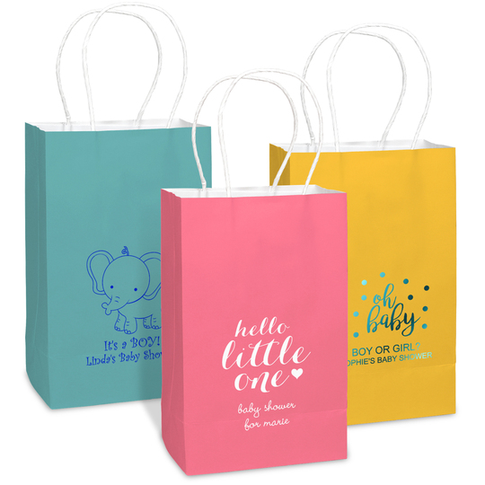 Personalized Medium Twisted Handled Bags for Baby Showers