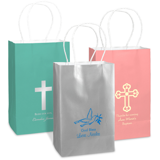 Personalized Medium Twisted Handled Bags for Baptisms