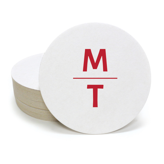 Stacked Initials Round Coasters