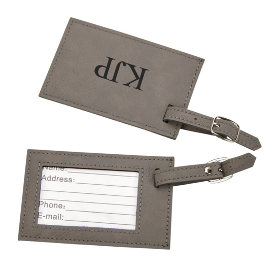 Grey Leatherette Luggage Tags