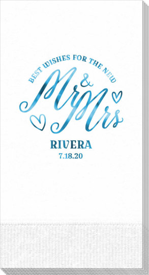 Mr. and Mrs. Best Wishes Guest Towels