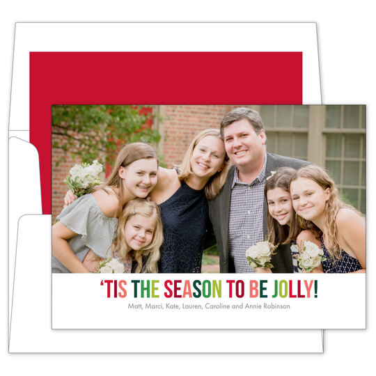 Jolly Colors Flat Holiday Photo Cards