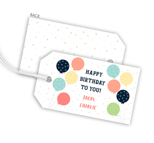 Blue Colorful Balloons Hanging Gift Tags