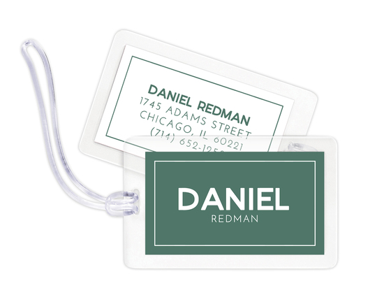 Green Bold Name Luggage Tags