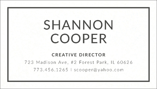 Bold Frame Letterpress Contact Cards