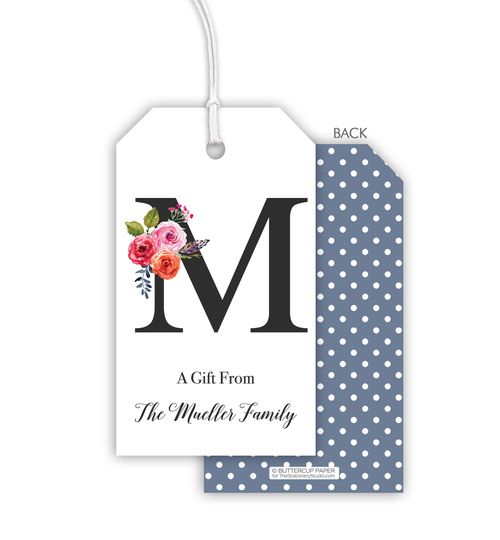 Floral Bunch Initial Hanging Gift Tags