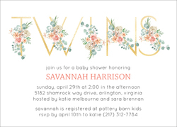 Floral Twins Baby Shower Invitations