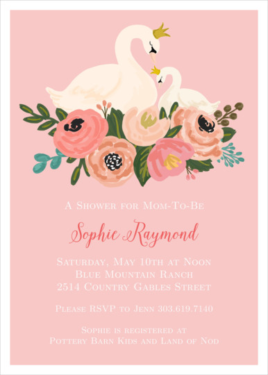 Pink Swans Baby Shower Invitations