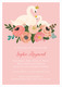 Pink Swans Baby Shower Invitations Image 1 of 2