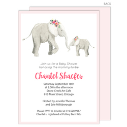 Pink Elephants Baby Shower Invitations