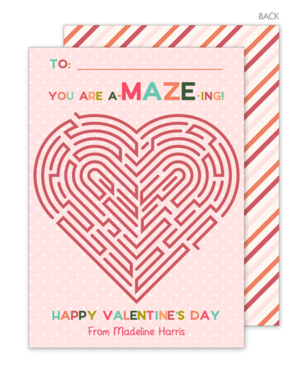 Pink Maze Valentine Exchange Cards