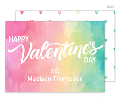 Rainbow Watercolor Valentine Exchange Cards