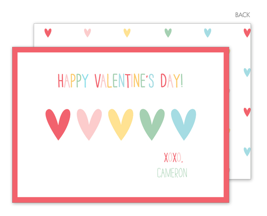 Colorful Hearts Valentine Exchange Cards