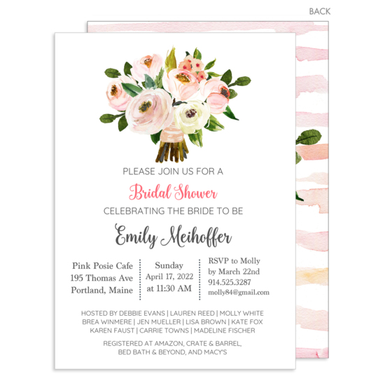 Rose and Peony Posy Bouquet Invitations