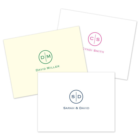 Circle Initials Foldover Note Cards