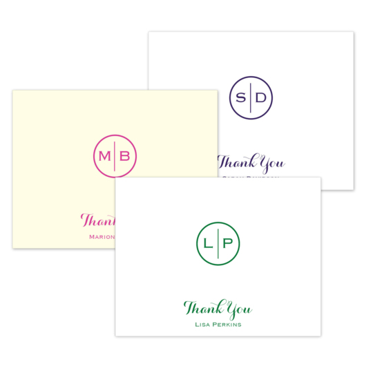 Circle Initials Thank You Folded Note Cards
