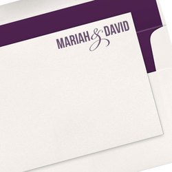 Bold Names with Ampersand Letterpress Flat Note Cards