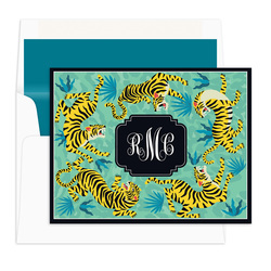 Teal Tiger Circle Foldover Note Cards