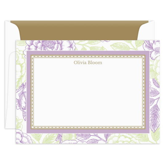 Lilac & Celery Garden Rose Flat Note Cards