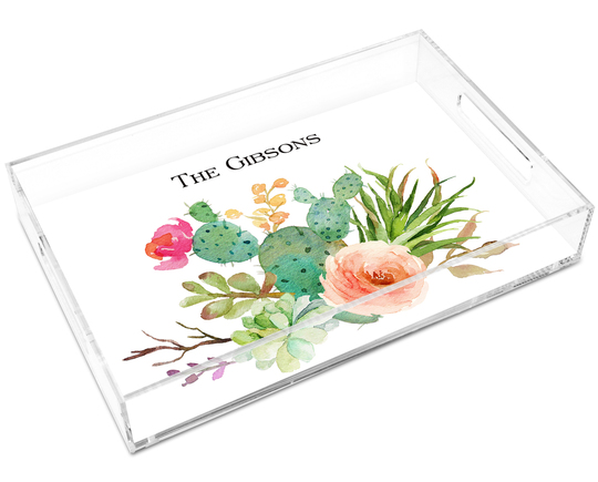 Desert Blooms Lucite Tray