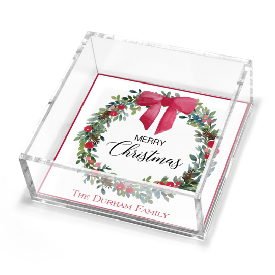 Christmas Wreath and Bow Petite Lucite Trinket Tray