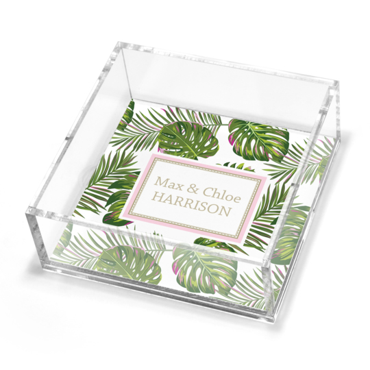 Palm Leaves Petite Lucite Trinket Tray