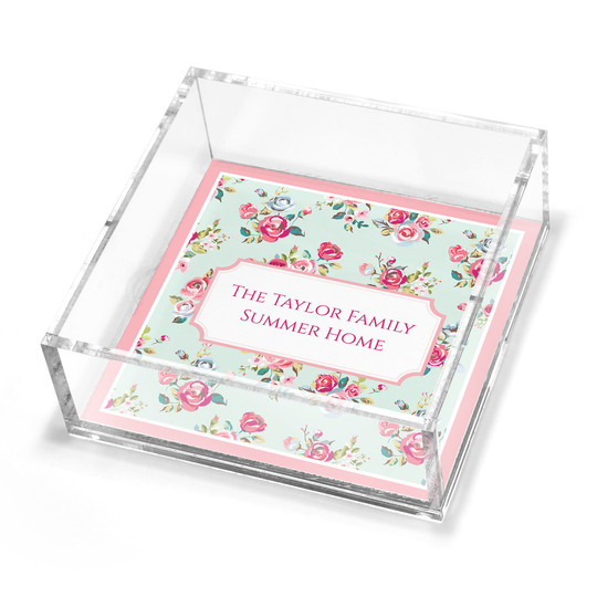 Delicate Roses Petite Lucite Trinket Tray