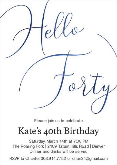 Hello Forty Foil Birthday Invitations