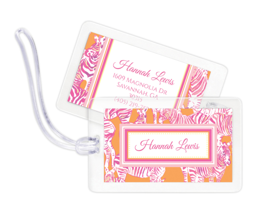 Pink and Orange Zebra Luggage Tags