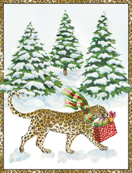 Leopard in the Snow Holiday Cards
