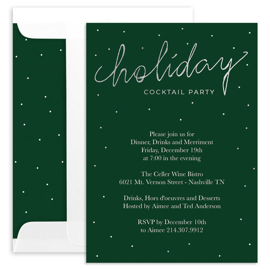Holiday Cocktail Party Foil Invitations