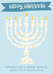 Watercolor Dotted Menorah Flat Holiday Cards