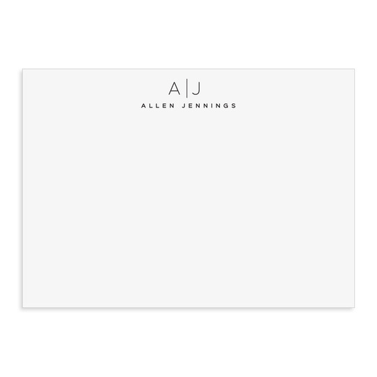 Duo Initials Flat Note Cards