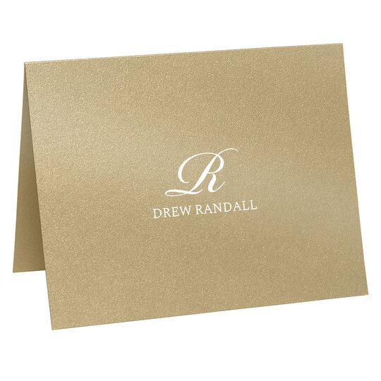 Script Initial Folded Shimmer Note Cards