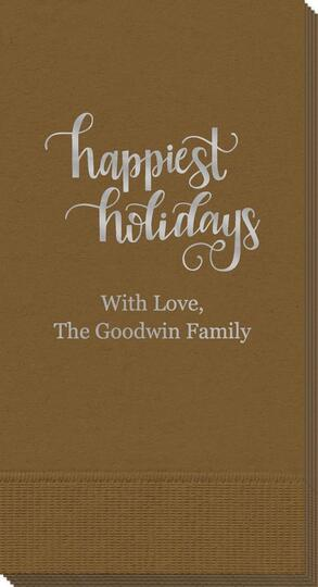 Hand Lettered Happiest Holidays Guest Towels