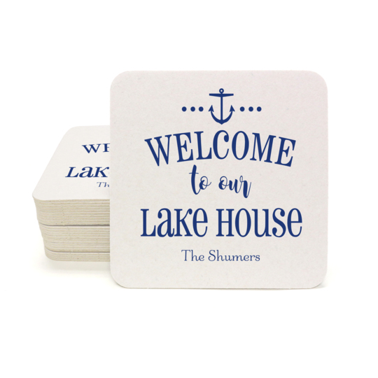 Welcome to Our Lake House Square Coasters