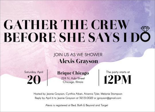 Gather The Crew Bridal Shower Invitations
