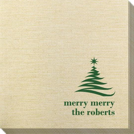 Artistic Christmas Tree Bamboo Luxe Napkins