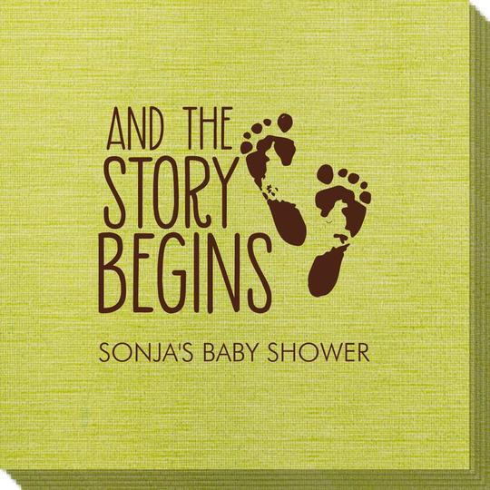 And The Story Begins with Baby Feet Bamboo Luxe Napkins