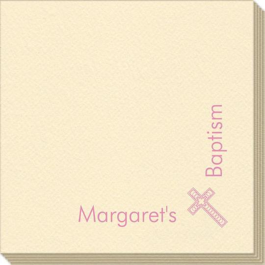 Corner Text with Inspirational Cross Linen Like Napkins