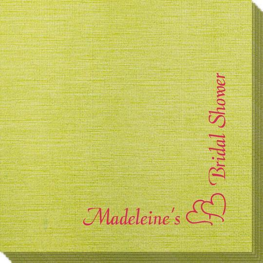 Corner Text with Graphic Double Hearts Bamboo Luxe Napkins