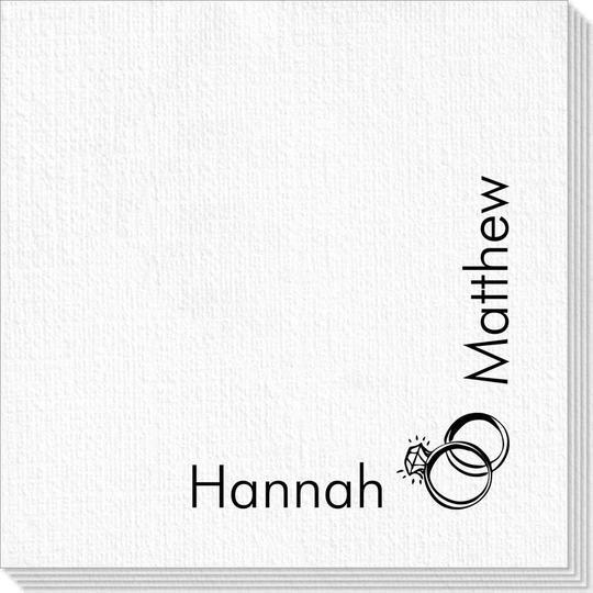 Corner Text with Wedding Rings Design Deville Napkins